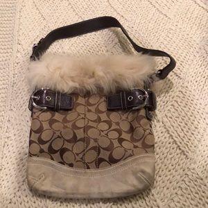 Fur lined Suede Coach bag